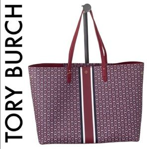 TORY BURCH RED BLUE WHITE XLARGE SHOULDER TOTE